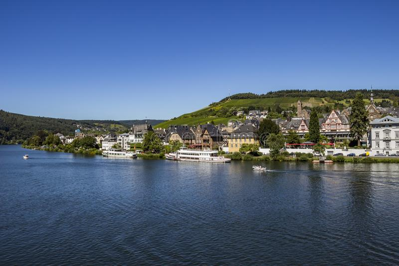 The Middle Moselle River with Traben -part of the beautiful town of Traben-Trarbach, Rhineland-Palatinate, Germany royalty free stock image