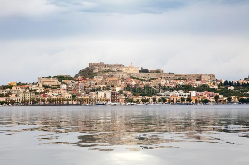 view to Milazzo Sicily Italy with castle from sea stock image
