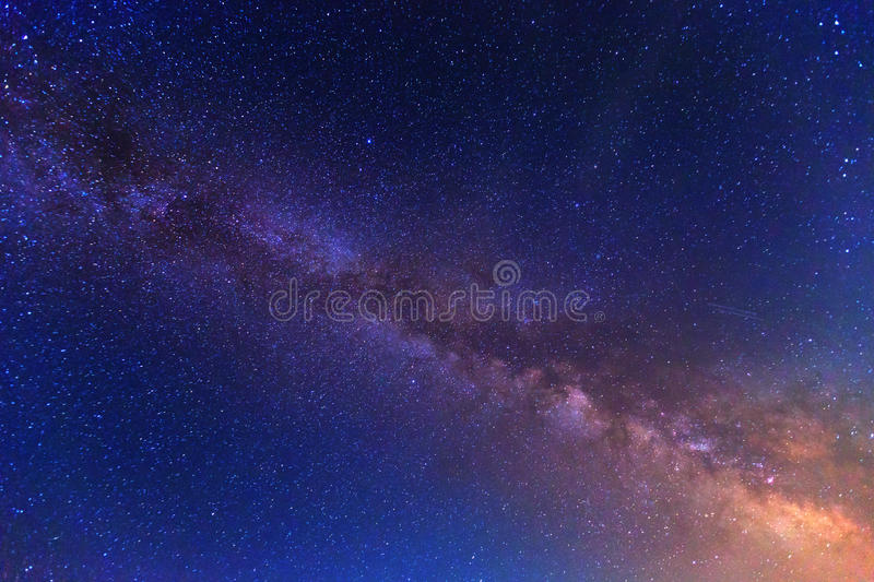 View to Milky Way Galaxy. On nigh sky royalty free stock photos