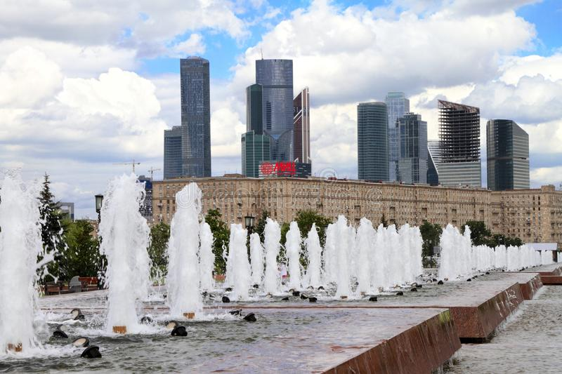 View to Moscow City Complex from Poklonnaya Gora. stock images