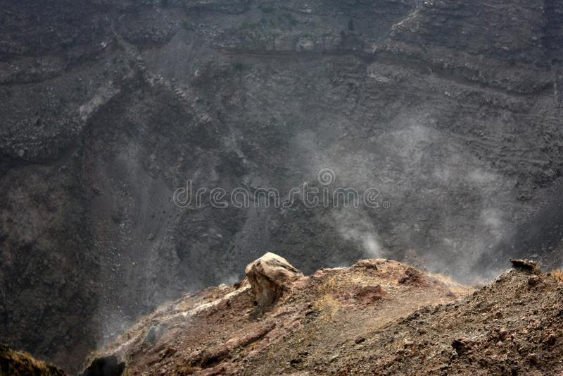View to Mount Vesuvius. Mount Vesuvius (in Italian Monte Vesuvio and in Latin Mons Vesuvius) is a stratovolcano east of Naples, Italy. It is the only volcano on stock photo