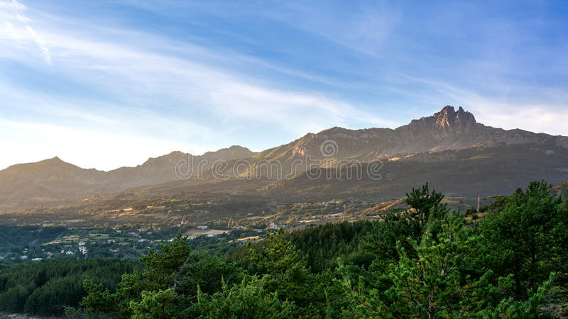 View to mountain in the Alpes stock images