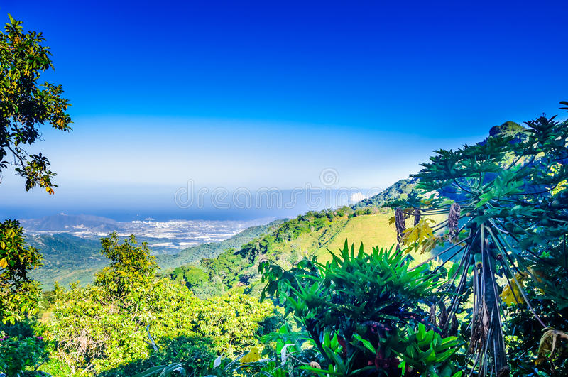 View to mountain landscape and Santa Marta from Minca. In Colombia stock photo