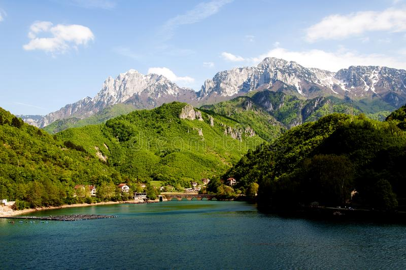 A view to mountain of Prenj. A view to mountain Prenj in Herzegovina from lake level with green wood in front and blue sky in background stock photography