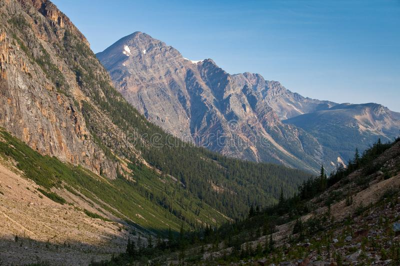 View in to a mountain valley in Jasper National Park, Alberta stock image