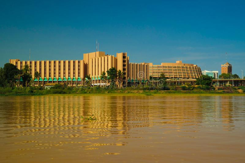 View to Niger river and Niamey city, Hotel Gaweye, Niamey Niger. View to Niger river and Niamey city , Niger stock image