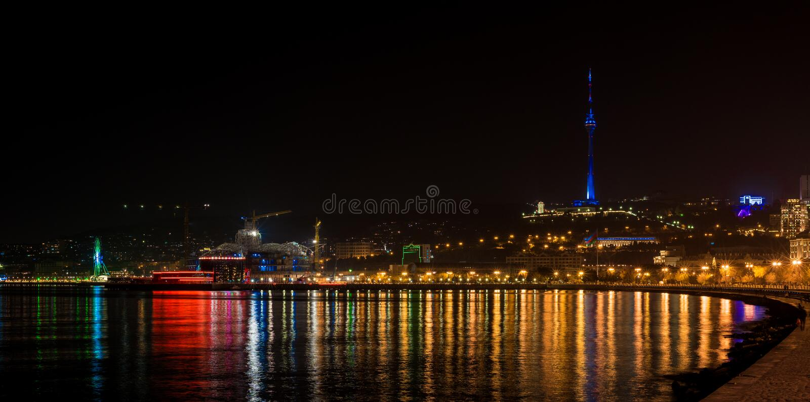 View to night Baku city. From fthe sea stock images