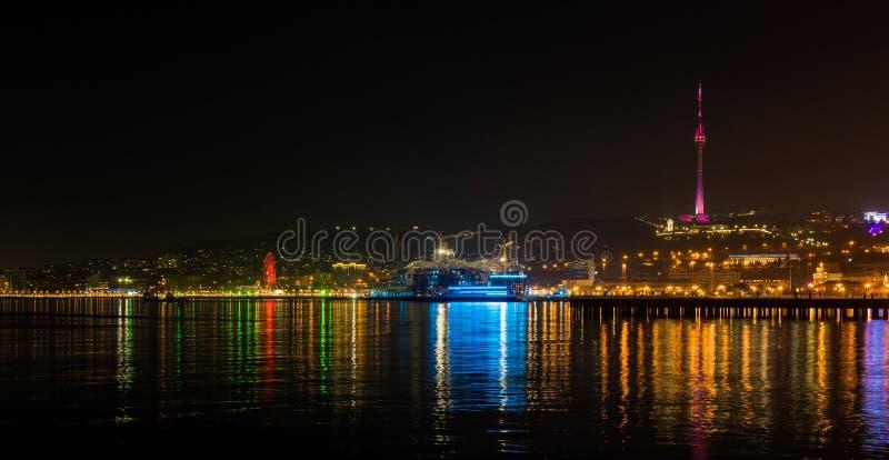 Night Baku city. View to night Baku city from fthe sea stock image