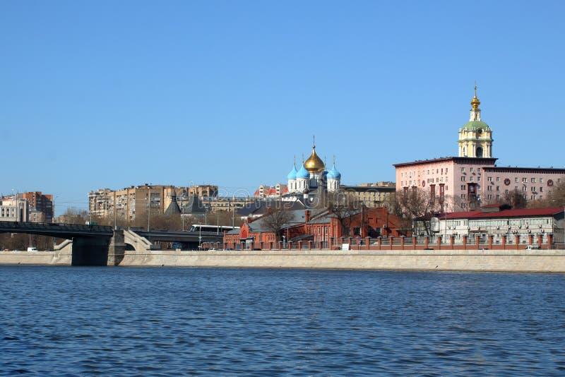 View to the Novospassky monastery across the Moskva river royalty free stock image