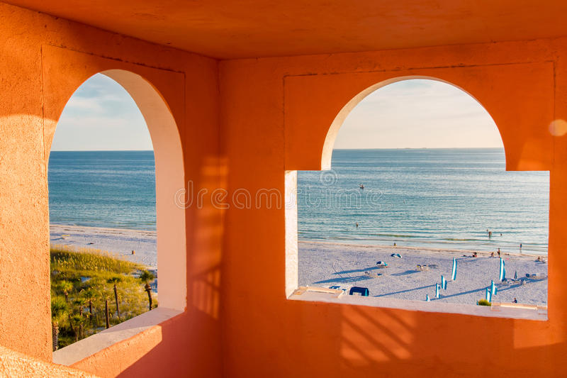 View to the ocean and beach stock images