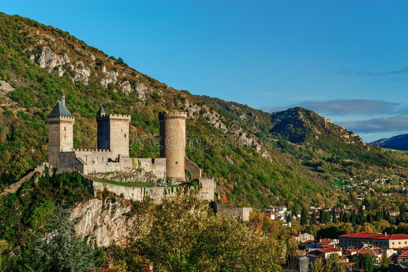View to old medieval castle and beautiful autumnal valley, sunset, Foix royalty free stock images