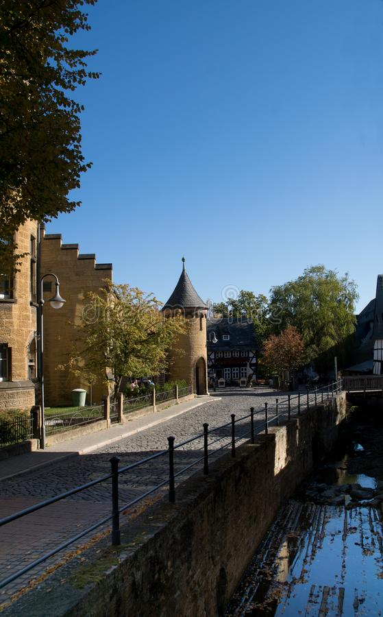View to the old school in the german city Goslar stock photography