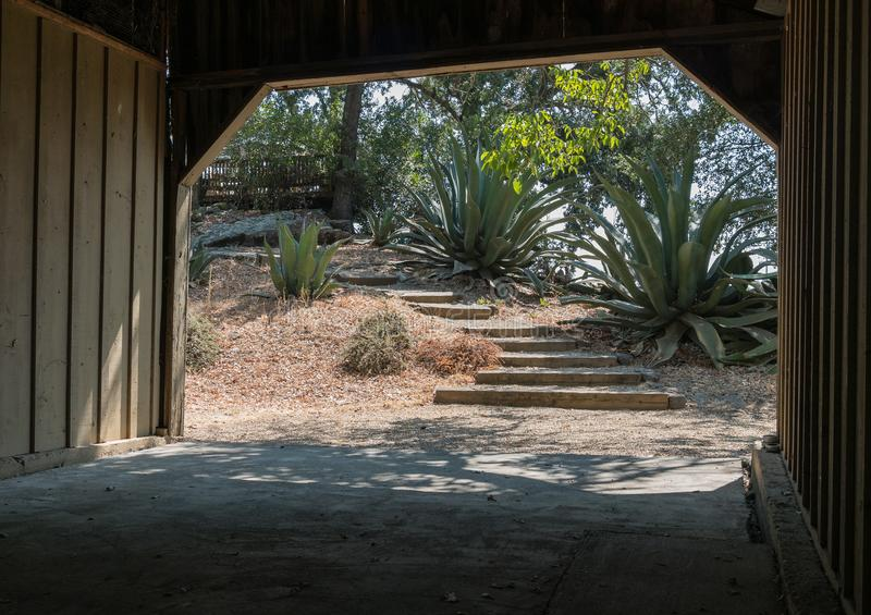 View to the outside, inviting steps stock photo