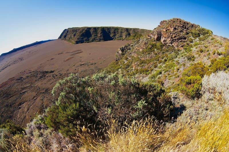 View to the Plaine des Sables at 2260 m above sea level near Piton de la Fournaise volcano at La Reunion island. royalty free stock photos