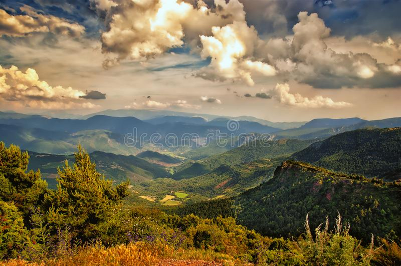 Landscape on the Pyrenees Spain. View to Poniente near Guils del Canto on the road from Sort to the east Catalonia Spain stock photos