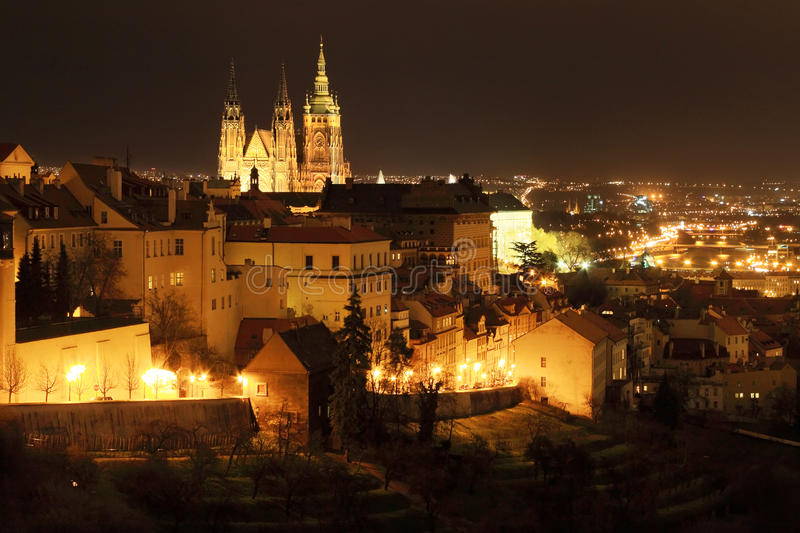 Download The View To Prague With Gothic Castle In Night Stock Image