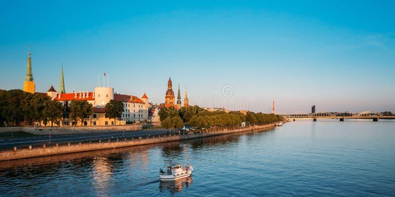 View To Promenad Of Daugava, In Riga, Latvia. Ab Dambis. Travel royalty free stock photo