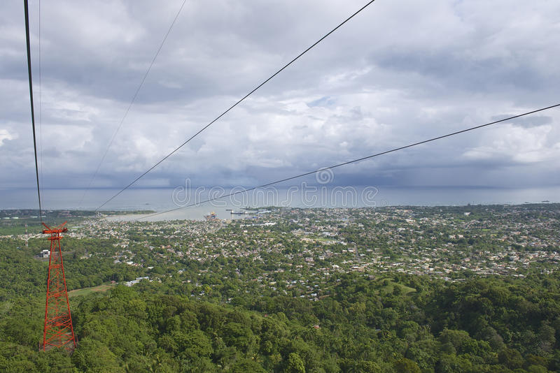 View to the Puerto Plata city from the cable car tram in Puerto Plata, Dominican Republic. royalty free stock photos