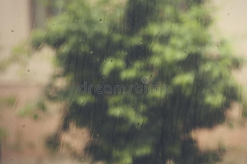 View to raining weather through the home window. Raindrops on the window glass. Heavy raining outdoors. Spring rain season stock photo