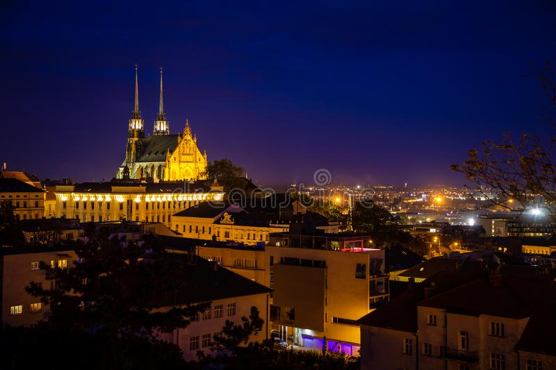 View to the red roofs of Brno city with Cathedral of Saints Peter and Paul. Morawia, Czech Republic stock photography