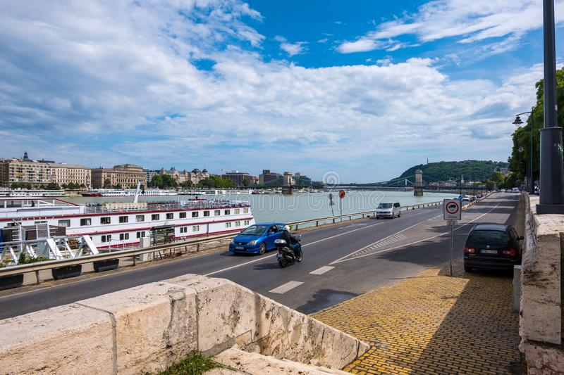 View to the River Danube and the Szechenyi Chain Bridge between Buda and Pest in the historical area of Budapest stock photo