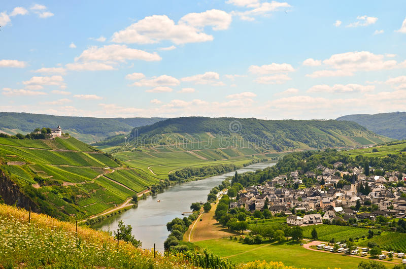 View to river Moselle and Marienburg Castle near village Puenderich - Mosel wine region in Germany. Europe stock images