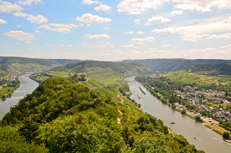 View to river Moselle and Marienburg Castle near village Puenderich - Mosel wine region in Germany. Europe stock photography
