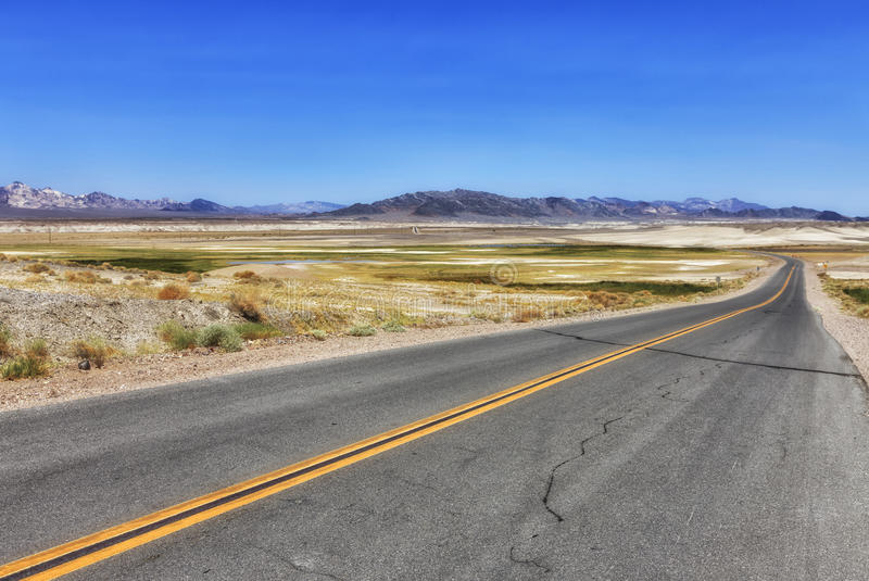 View to the road at Shoshone, USA stock photography