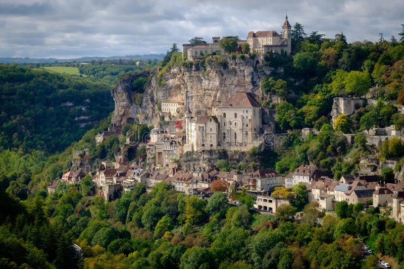 View to Rocamadour village in Lot, France royalty free stock image