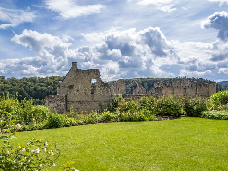 View to the ruins of Larochette Castle above the town of Larochette, Fiels or Fels in Luxembourg royalty free stock photo