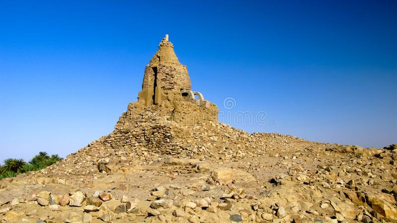 View to ruins of turkish fortress near Third Cataract of Nile near Tombos , Sudan stock photo