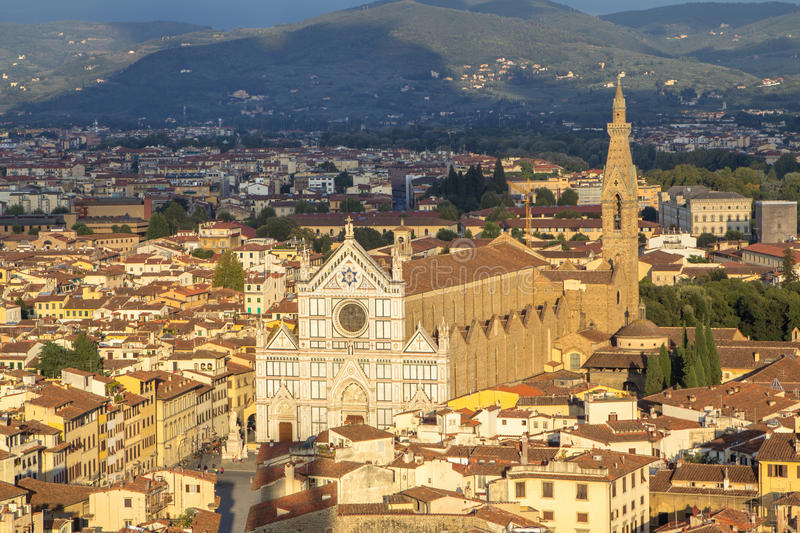 View to the Santa Croce cathedral and the Florence city, Italy stock image