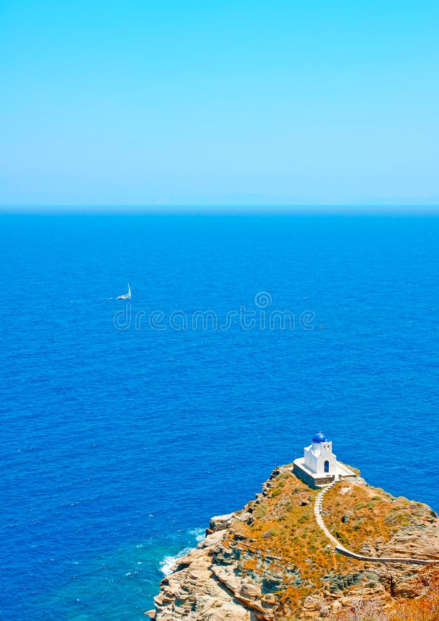 View to the sea from Chora of Sifnos royalty free stock photos