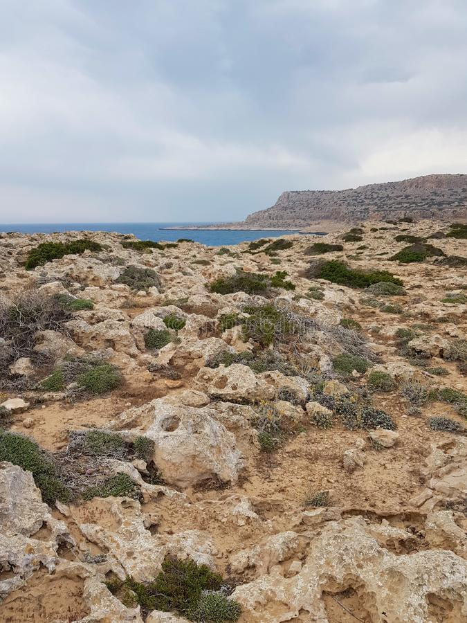 View to the sea, Cyprus, Protaras, May 2018. Beautiful blue sea. Rocks and mountains. Nature is very racy here. It takes breath from this spectacle royalty free stock image