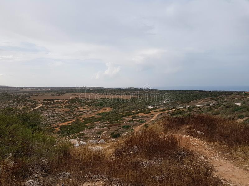 View to the sea, Cyprus, Protaras, May 2018. Beautiful blue sea. Rocks and mountains. Nature is very racy here. It takes breath from this spectacle royalty free stock photography