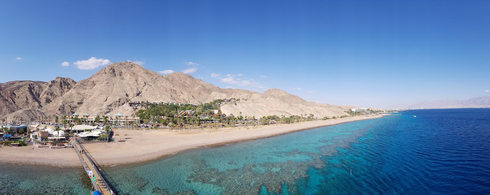 View to the seaside Eilat. Eilat`s stunning seaside royalty free stock image