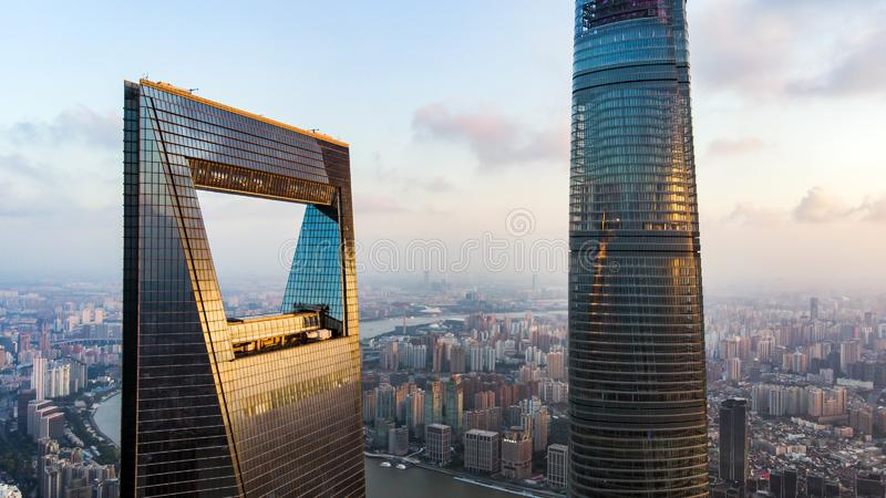 View To Shanghai World Financial Center And Shanghai Tower. CHINA, SHANGHAI - AUGUST 4, 2018. View To Shanghai World Financial Center And Shanghai Tower royalty free stock image