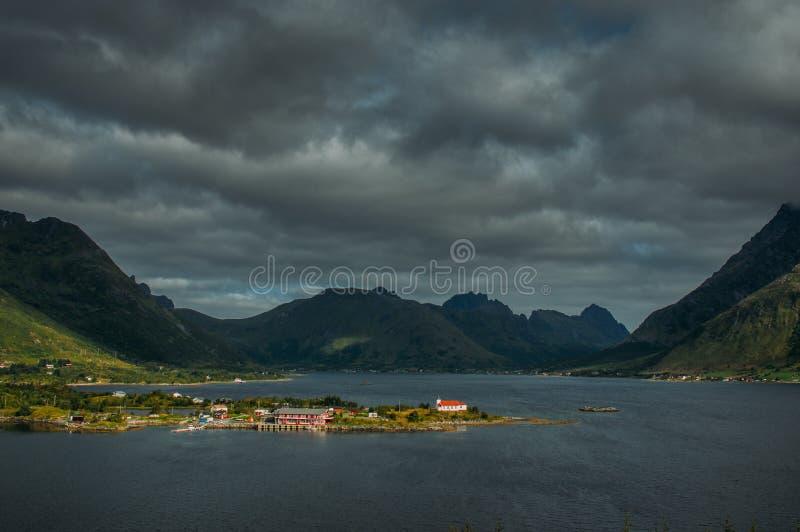 View to Sildpollnes church and mountains, Lofoten Islands royalty free stock image