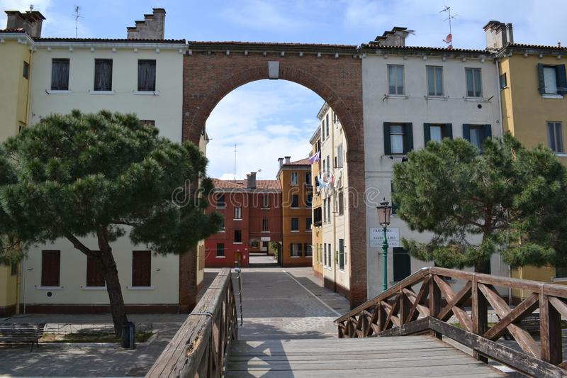 View to some houses and streets of Venice in a sunny spring day. stock images