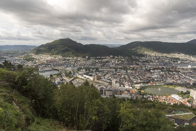 View to the south of Bergen from Fløyen Mountain royalty free stock images