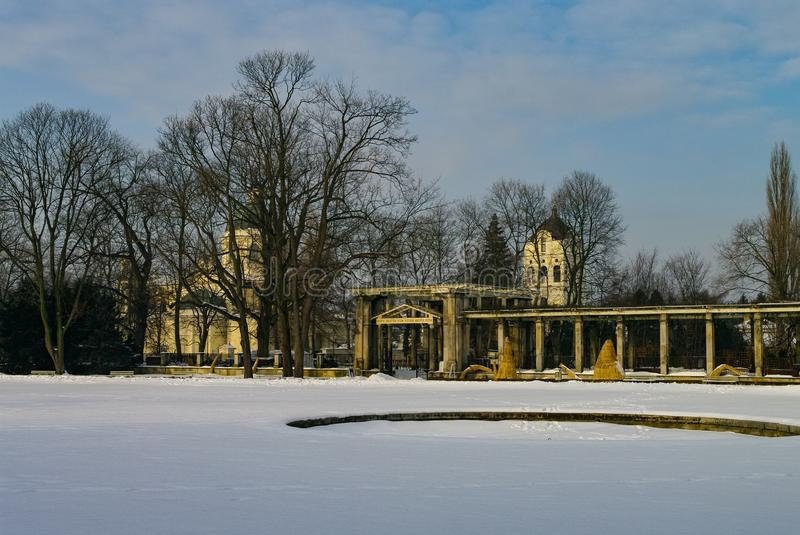 View to St. Anne`s Church from Wilanow Palace park, Warsaw. Poland royalty free stock image