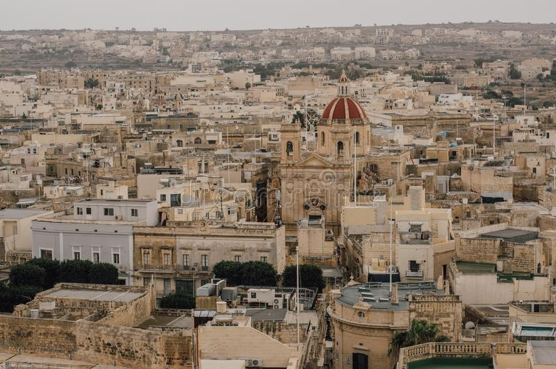 View to St George`s Basilica from Cittadella in Victoria, Malta royalty free stock photography