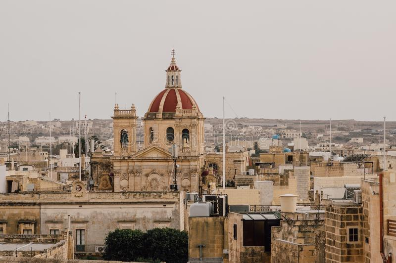 View to St George`s Basilica from Cittadella in Victoria, Malta. View to St George`s Basilica from  Cittadella in Victoria, Malta stock photos