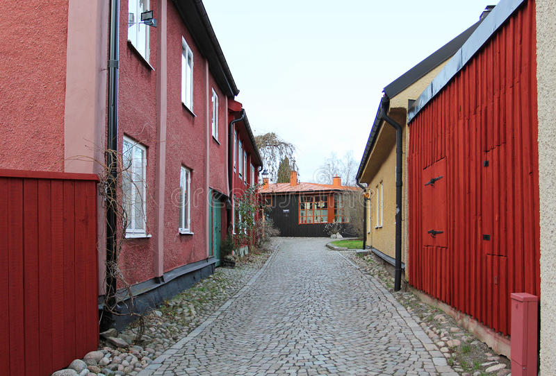 The view to the street of historical center in Vasteras city. In Sweden royalty free stock images