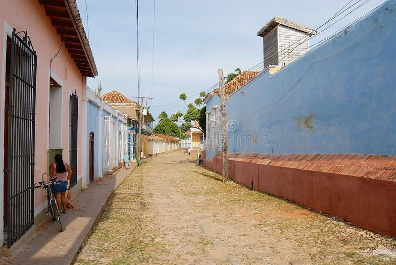 View to the street of the town in Trinidad, Cuba. stock photo