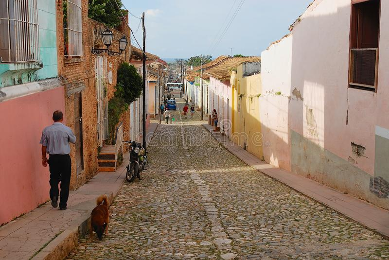 View to the street of the town in Trinidad, Cuba. royalty free stock photography