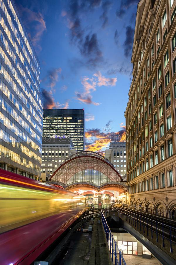 Free View To The Canary Wharf DLR Station With Passing By Train Royalty Free Stock Photo - 110776395