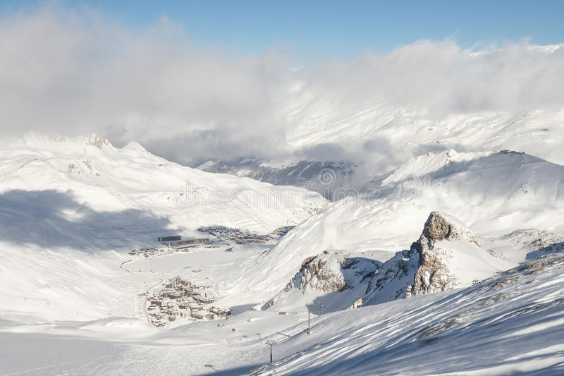 View to Tignes valley from mountains royalty free stock image