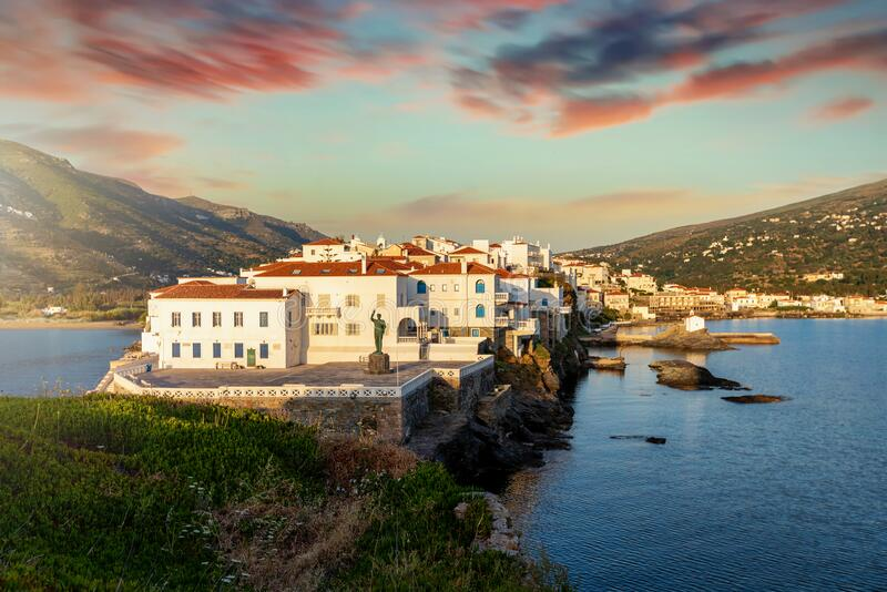 View to the town of Andros during sunrise time, Cyclades, Greece stock photography