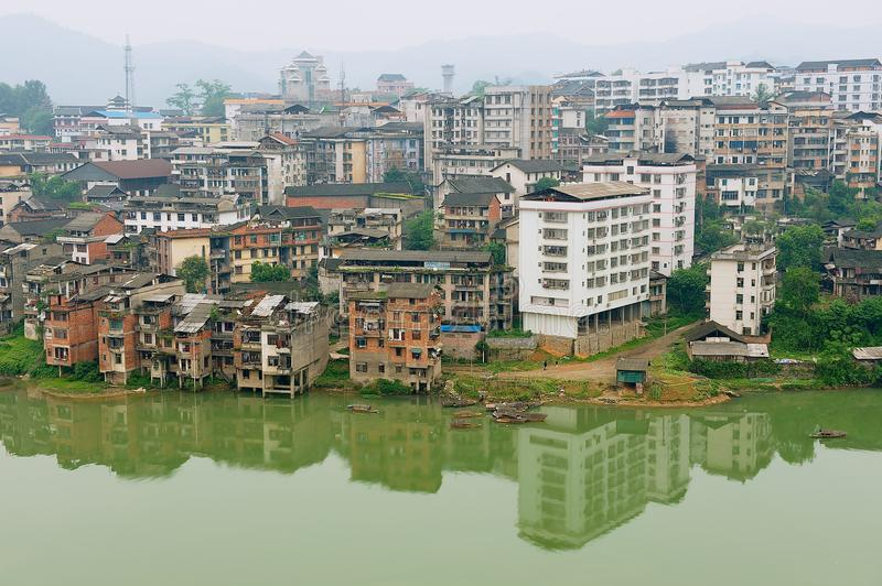 View to the town of Rongshui in Guangxi across the river in Rongshui, China. royalty free stock photography
